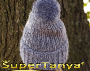 SuperTanya grey thick mohair beanie hat with pom pom
