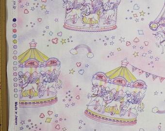 Cute Merry Go Round Print Japanese Light Purple - 110cm x 50cm