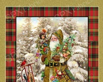 Old World Christmas Santa 100% Cotton Quilting Fabric Panels or Wall Hanging