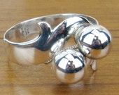 Sterling Silver Mexican Jewelry Vintage cuff bangle bracelet big chunky Hecho en Taxco 925 Mexico