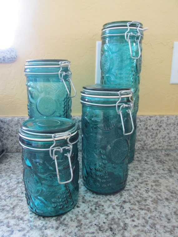 Blue glass fruit design kitchen canister set - Blue glass kitchen canisters ...
