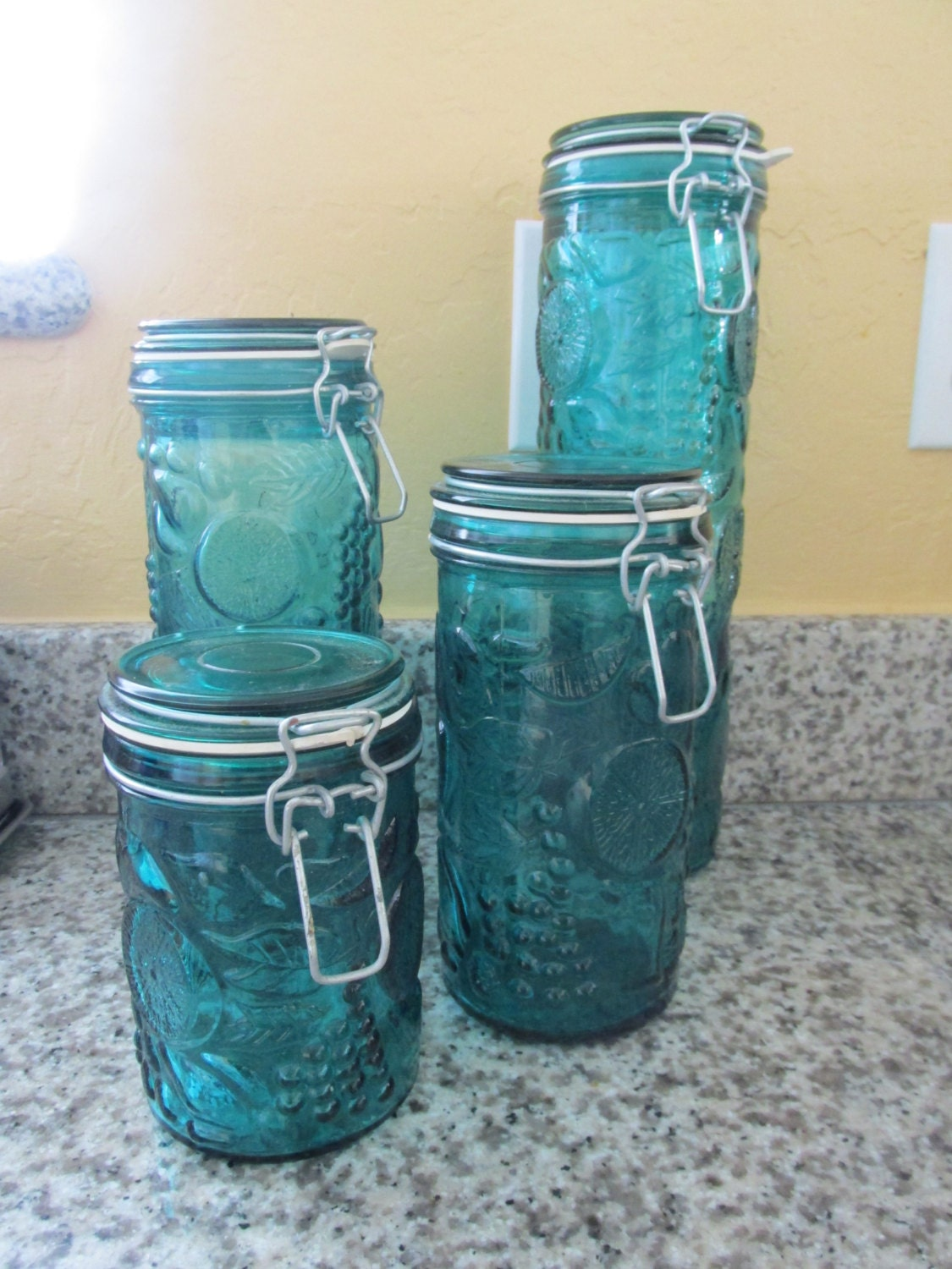 glass canisters kitchen blue glass fruit design kitchen canister set 11882