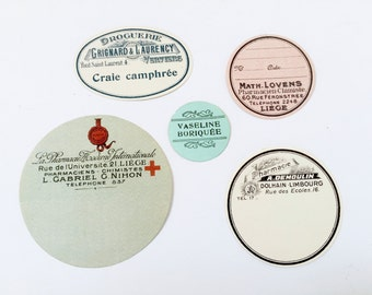 5 Authentic Vintage French Pharmacy Labels - Old Store Stock Unused - Not Repros!