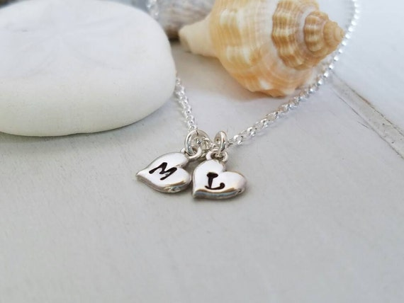Dainty Initial Necklace, Sterling Silver Tiny Hearts, Custom Made, Hand Stamped Personalized, 2 Heart Childrens Initials, Mother Necklace