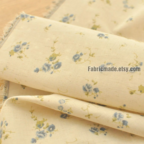 Light Weight Soft Floral Cotton Linen Fabric, Small Blue Flower On Beige Linen For Shirts Quilting -1/2 yard