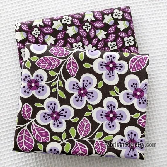 Lilac Flower Cotton Fabric, Purple Flower On Black Cotton, Quilt Cotton Fabric-  1/2 yard