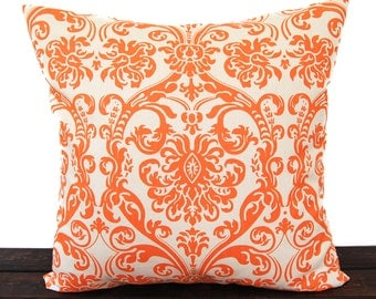 Throw pillow cover One Mandarin Orange and natural Dosset Abigail