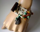 Turquoise and amber bracelet, assemblage bracelet, vintage bird jewelry, soldered jewelry, organic earthy style, bird theme, anvilartifacts