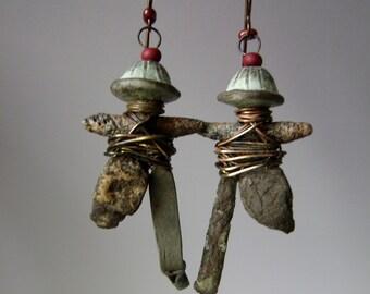 Fragments of Antiquities, Jubilation Dance of Our Ancestors 3, ancient Kievan Rus Viking, asymmetrical assemblage earrings, AnvilArtifacts