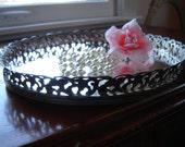 Vintage filigree mirror tray round wedding table centerpiece vanity tray home decor bath decor 9.5 inch perfume tray