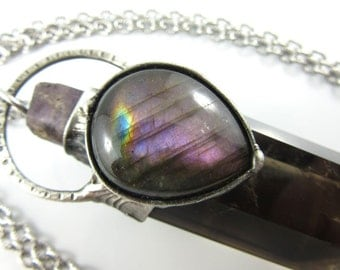 RESERVED the empress - purple scapolite, purple labradorite & smoky citrine crystal pendant