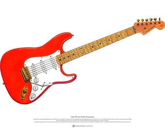 Hank Marvin's Fender Stratocaster ART POSTER A2 size