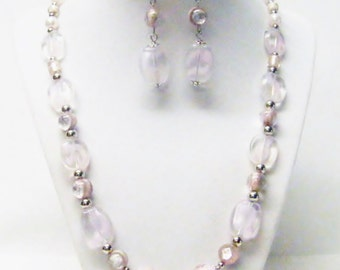 Pink/Clear Flat Glass Bead Necklace/Earrings Set