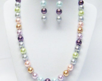 Multi Color Glass Pearl Necklace & Earrings Set