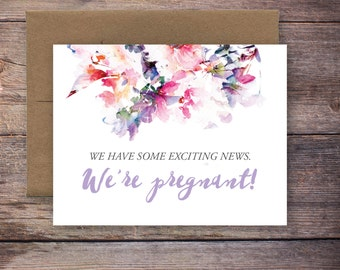 Printable We're Pregnant Announcement Card - Instant Download Greeting Card - Pregnancy Announcement Card - Expecting Baby Card - Jessica