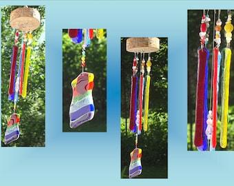 Rainbow Glass Windchime, Lgbt Wood Chimes, Fused Glass Art, Garden Decor, Stained Glass, Window Suncatchers  .4