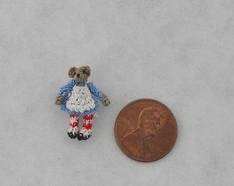"Micro Crochet Raggedy Ann Teddy Bear Doll.She is 7/8"" Tall.  Doll house Miniature"