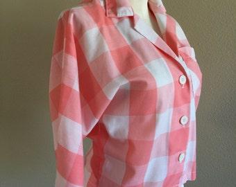 80s does 50s Peach Dolman Sleeve Gingham Camp Shirt