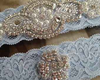 SALE-Wedding Garter-Garters-Stretch lace-blue garter-Garter-Rhinestone-Pearl garter-Keepsake-Something Blue-Lace Garter-bridal garter-ivory