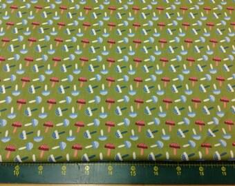 Woodland Animals Mushrooms Green Fat Quarter Fabric Material FF68/3