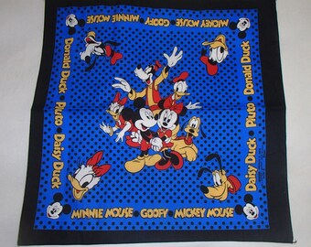 Disney MICKEY MOUSE/Friends Minnie Mouse/Daisy Duck/ Goofy/ Cotton Scarf/ Disney Fabric /Blue Red BlackBorder