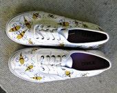 Handpainted sneakers, shoes, sneakers, ladybugs, original art, OOAK, bugs, womens sneakers,  handpainted