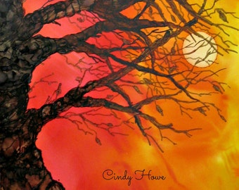 Greeting card, gnarly tree, cards, tree, greeting cards, trees, alcohol inks, sun