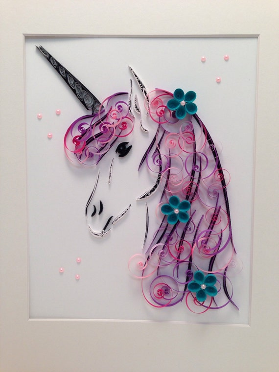 Articles similaires à Quilling Art   Licorne   Oeuvres d ...