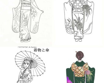 DOWNLOAD Printable Traditional Japanese Kimono images, line art, coloring art, 3 small post-card size images and 3 large 8x10 size images