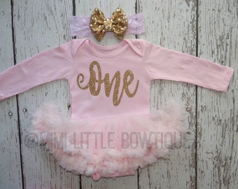First Birthday pink tutu dress- pink and gold first birthday -tutu dress Gold - tutu - Pink tutu- one birthday dress- gold and pink birthday