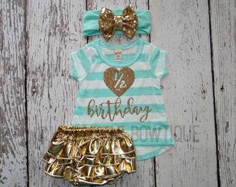 Half Birthday Mint green Baby shirt- 1/2 Birthday Gold Shirt- 6 months Birthday Outfit- 1/2 Birthday Outfit-