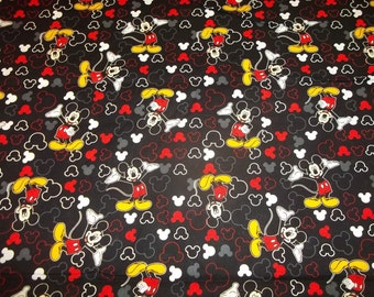 "MICKEY MOUSE Icon Toss  ""New Design ""   pattern 1/2  Yard - 100% Cotton Very Cute Fabric"
