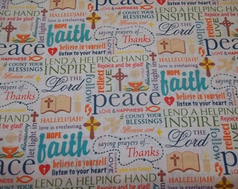 WORDS OF FAITH   On White  Background   pattern  1  Yard - 100% Cotton Fabric New Design