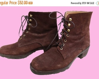 ON SALE Vintage 90's suede lace up boots / French suede boots.