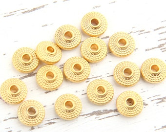 Matte Gold Saucer Beads, Gold Disc Spacers, 8mm, 15 pieces // GB-156