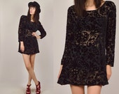 FLASH SALE Sheer Black Velvet Floral Mini Dress