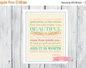 ONSALE Bible Verse Christian Art  Print 1 Peter 3:3-4 Beauty  PDF Digital Download