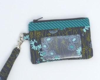 Zippered Wristlet, ID Pocket Wristlet, Teal and Navy Wristlet, Floral Wristlet