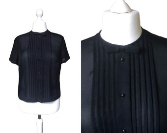 Bow Fronted Vintage Blouse - 1950's Blouse - 50's Top - Semi Sheer Black Blouse