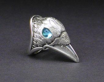 White Raven Ring, Blue-eyed Raven, Sterling silver, White Spirit Raven, Raven totem, White Crow, spirit totem, 925, blue topaz, unisex ring