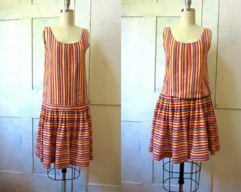 Laura Ashley Stripe Cotton Dress - Sun Dress - Drop Waist - Summer Dress