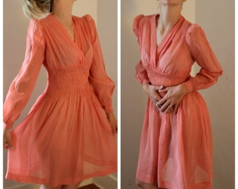 Vintage 1930s Sheer Silk Chiffon Dress with Timeless Puff Sleeve Silhouette