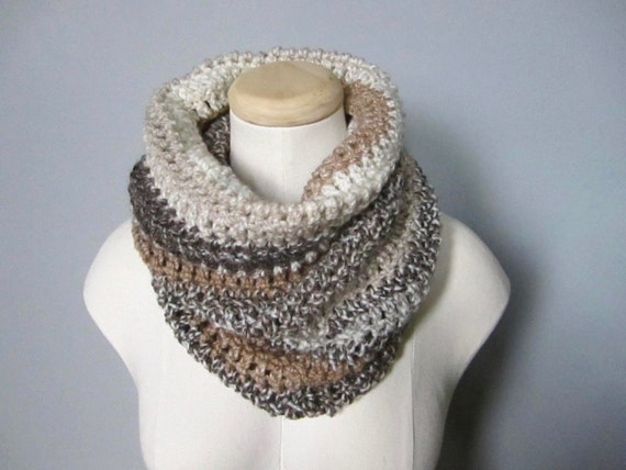 Crochet Brown, Chocolate, Tan, Beige, Cream, Off White, Mocha, Striped Scarf, Cowl, Neck Warmer, Men's Scarf, Women's Scarf, Unisex Scarf
