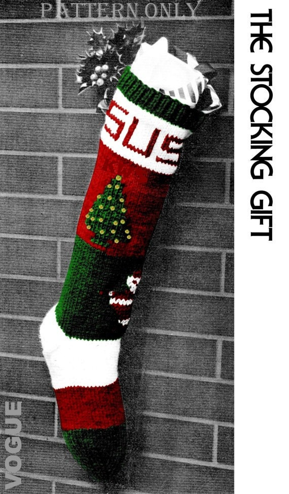 Vintage Knit Christmas Stocking Pdf Pattern Instant