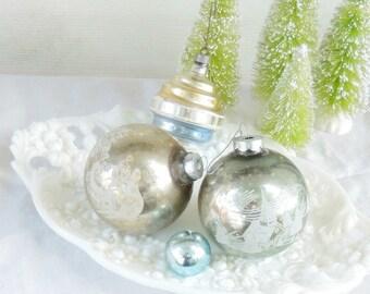 Antique Blown Glass Assorted Set of 4 Ornaments  Mercury Glass Shiny Brite  Silver Aqua