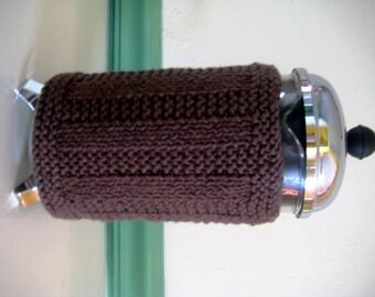 French Press Coffee Cozy Warm Brown Wide Rib Stripe