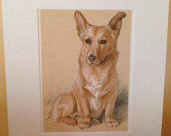 Vintage mounted 1939 Lucy Dawson Dookie corgi Royal dog plate print Unique gift