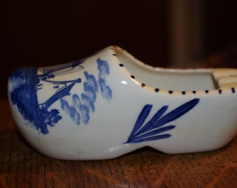 Delft Porcelain Wooden Shoe With Windmill