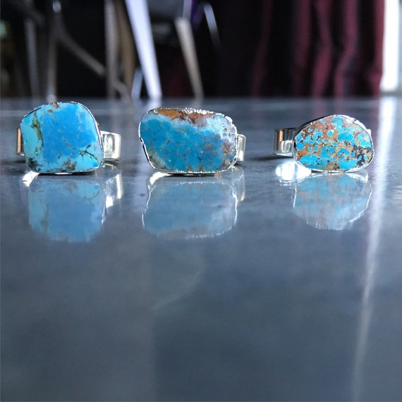Turquoise silver rings, boho jewelry , girlfriend  gift, aunt gift