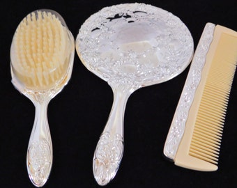 Silver Plate 3 Piece Vanity Set, Mirror, Brush and Comb